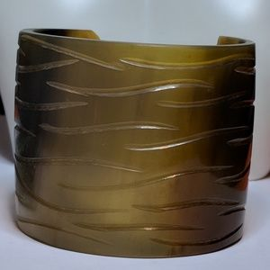 Jewelry - New Couture Super Wide Horn Tan Gray Cuff Bracelet